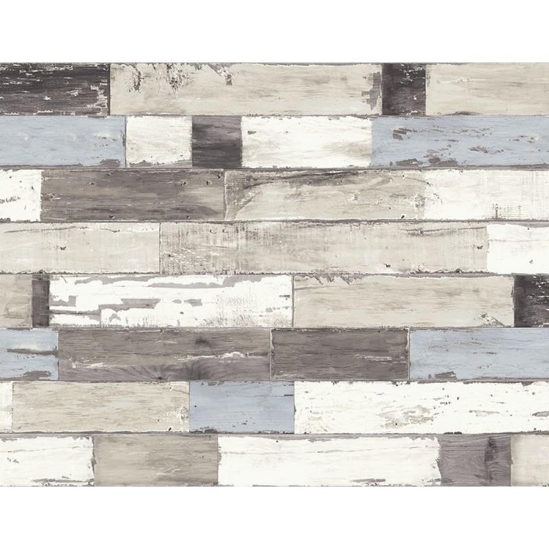 קיר לוחיות עץ - תכלת אפור