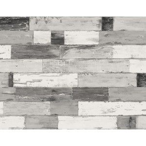 טפט קיר לוחיות עץ - לבן מעושן אפור