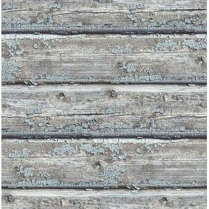 קיר קורות עץ מיושן - טורקיז מעושן