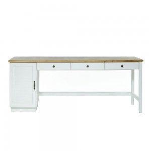 שולחן כתיבה 3 מגירות, שמנת