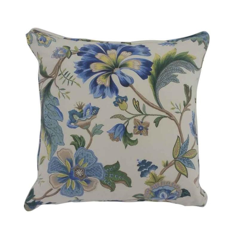 כרית איורי פרחים בגווני כחול-ירוק