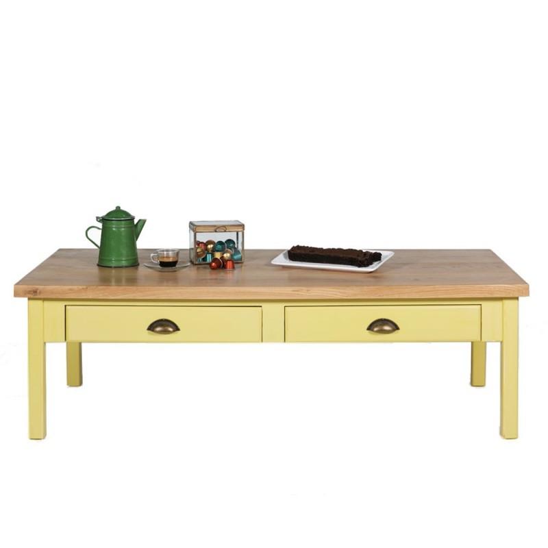 שולחן סלון צהוב 2 מגירות