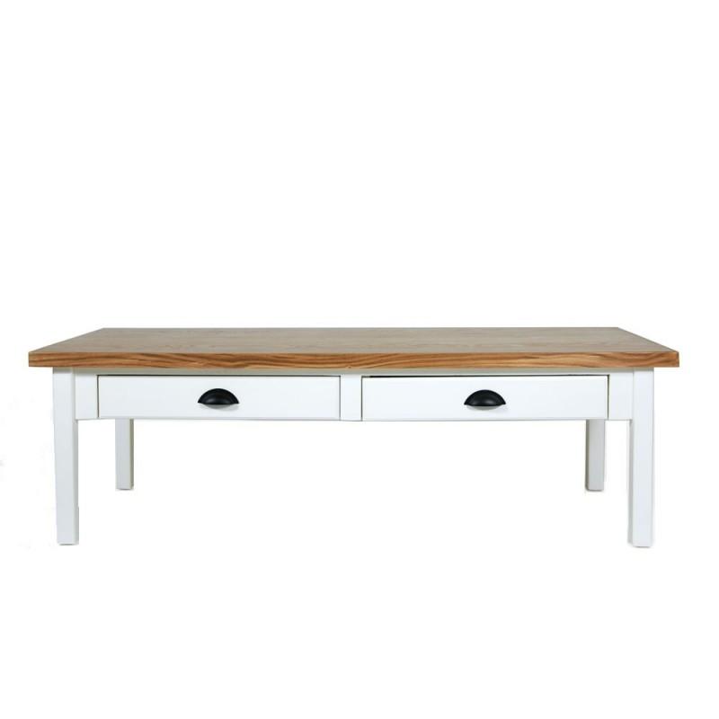 שולחן סלון שמנת 2 מגירות