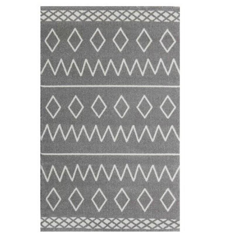 שטיח לחדר ילדים אפור איור גאומטרי