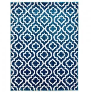 שטיח מודרני אדוארד טורקיז לבן