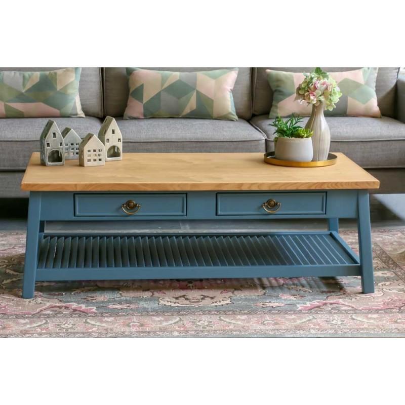 שולחן סלון כחול כהה מעושן
