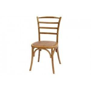 כסא עץ כפרי משענת פסים