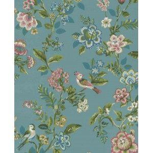 טפט צמחים וציפורים - רקע כחול טורקיז