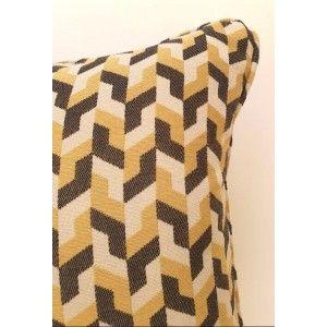 כריות נוי מעוצבות, כרית נוי גאומטרית צהוב אפור