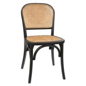 כסא עץ עם משענת בשילוב ראטן
