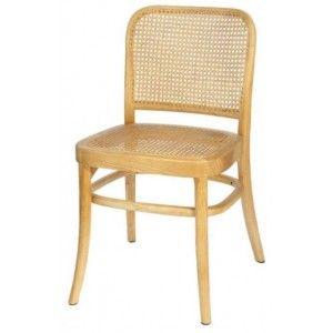 כסא עץ עם משענת בשילוב ראטן מרובע