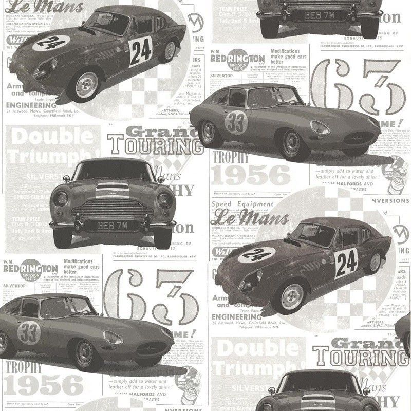 טפט מכוניות בגווני אפור, שחור ולבן