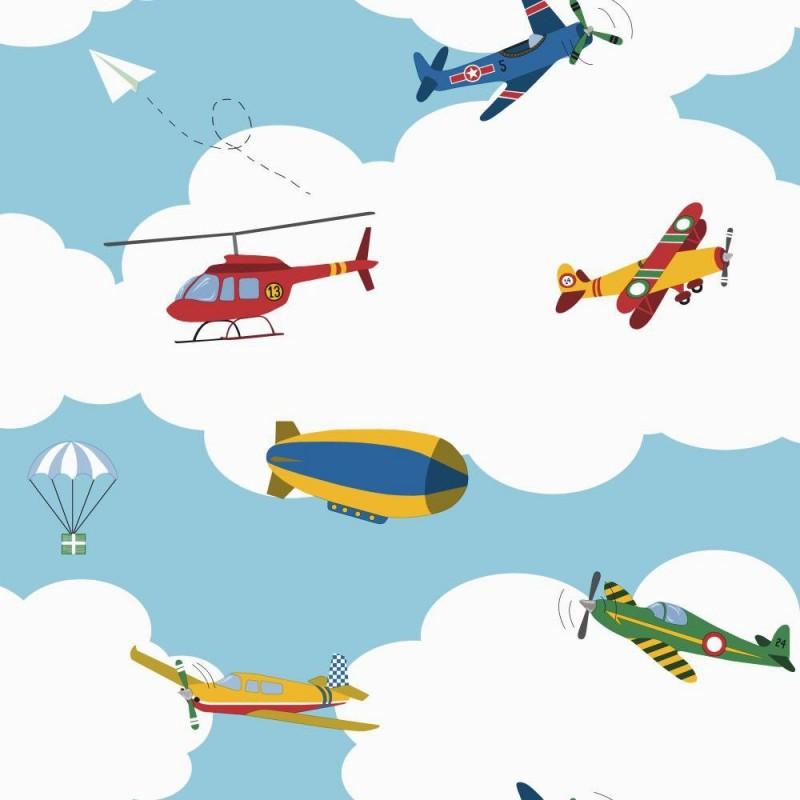 טפט עננים עם מטוסים ומסוקים