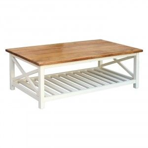 שולחן סלון מעץ ושמנת