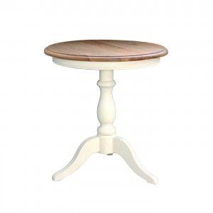 שולחן קפה עגול רגל לבנה לסלון