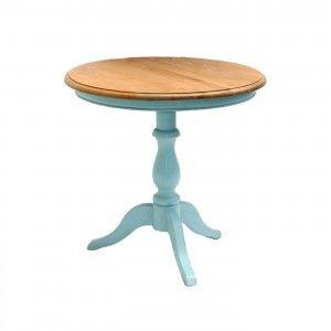 שולחן קפה עגול רגל תכלת לסלון