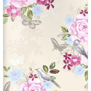 טפט פרחים פרפרים וציפורים 1