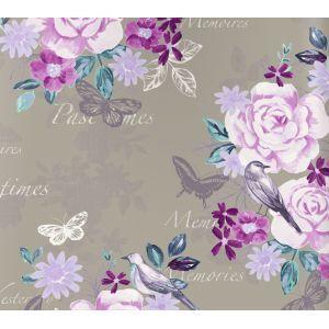 טפט פרחים פרפרים וציפורים 4