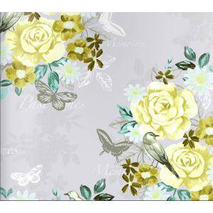 טפט פרחים פרפרים וציפורים 5