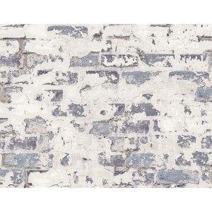 קיר לבנים חשוף חלקית - אפור