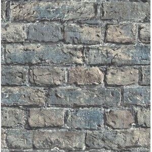 קיר לבנים חשוף צבוע - תכלת מעושן