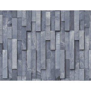 קיר לוחיות אבן - כחול מעושן