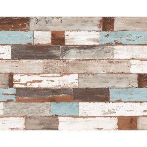 קיר לוחיות עץ - עץ טבעי ותכלת