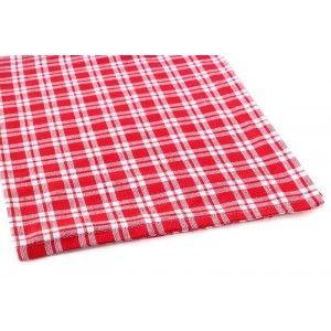 סט מגבות משבצות אדום לבן