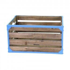 ארגז עץ לאחסון כחול