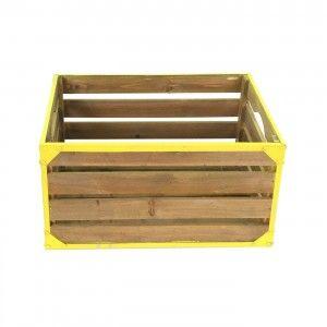 ארגז עץ לאחסון צהוב